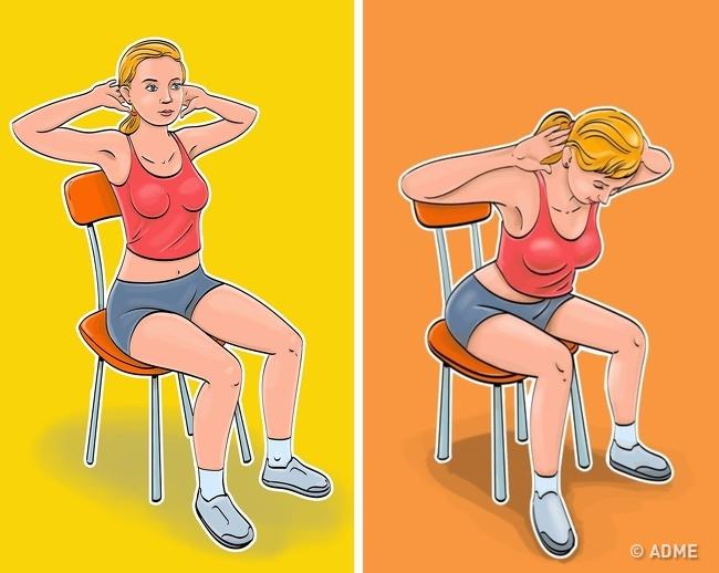 7 упражнений для плоского живота и тонкой талии, которые можно делать не вставая со стула