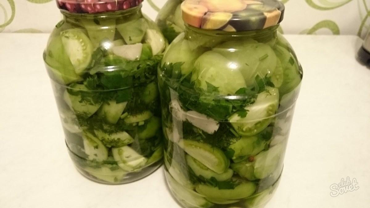Салат из зеленых помидоров «Изумрудный» на зиму