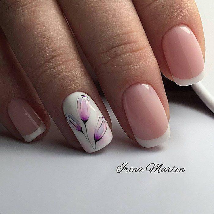 Идеи нежного цветочного маникюра